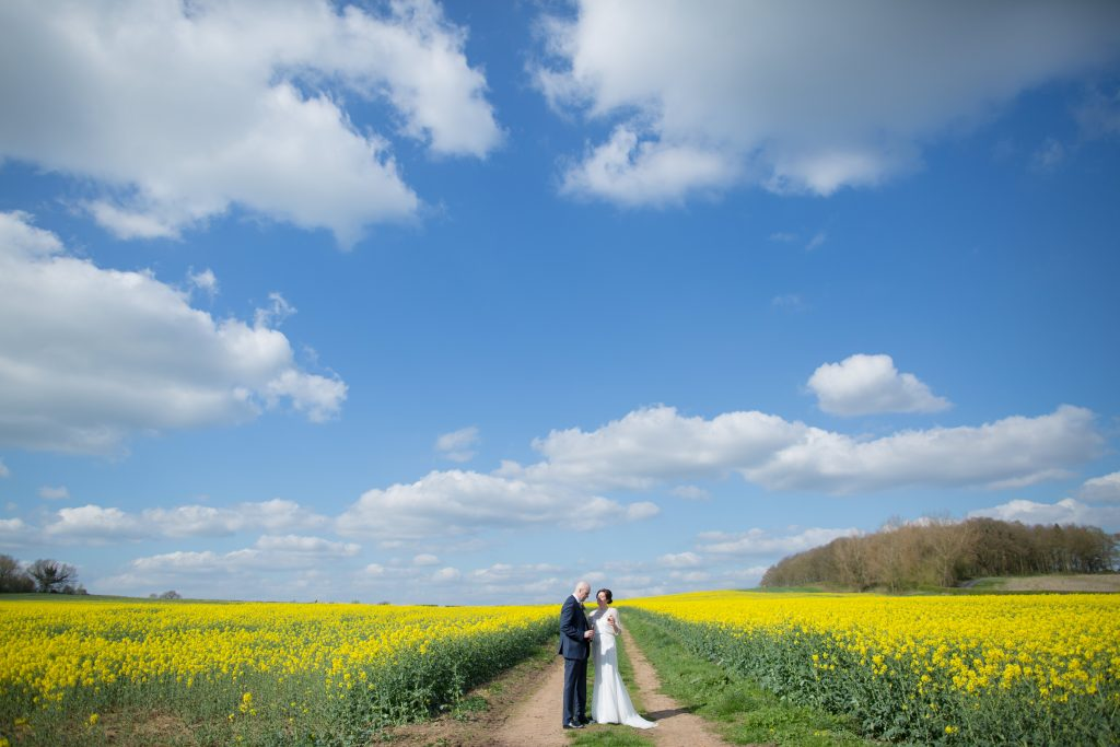 bride and groom in field of yellow