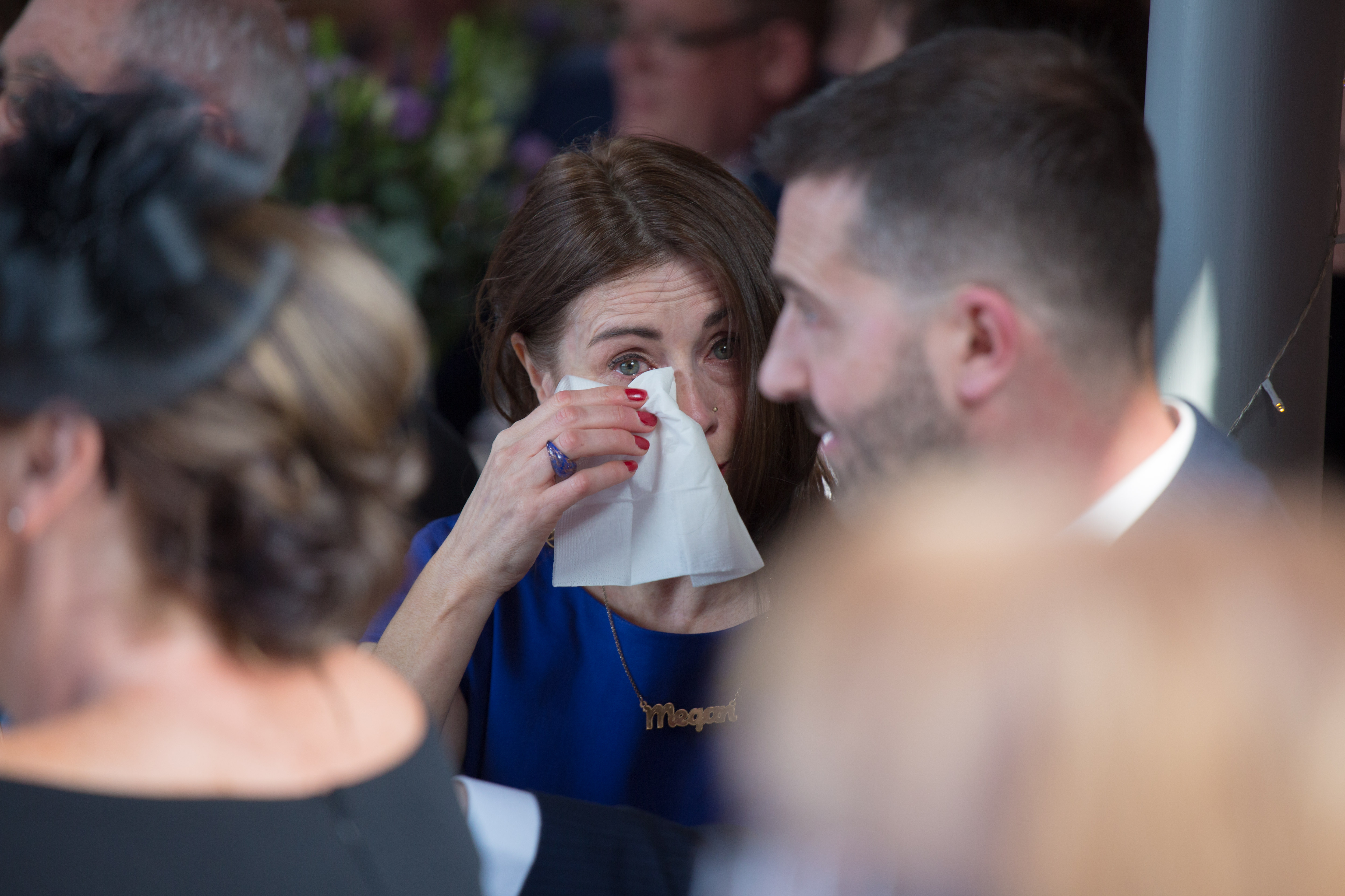 wedding guest crying during speeches