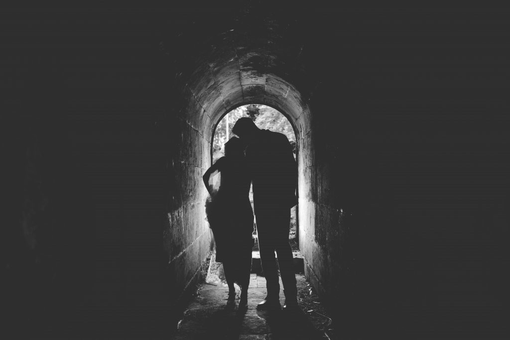 black and white picture of bride and groom