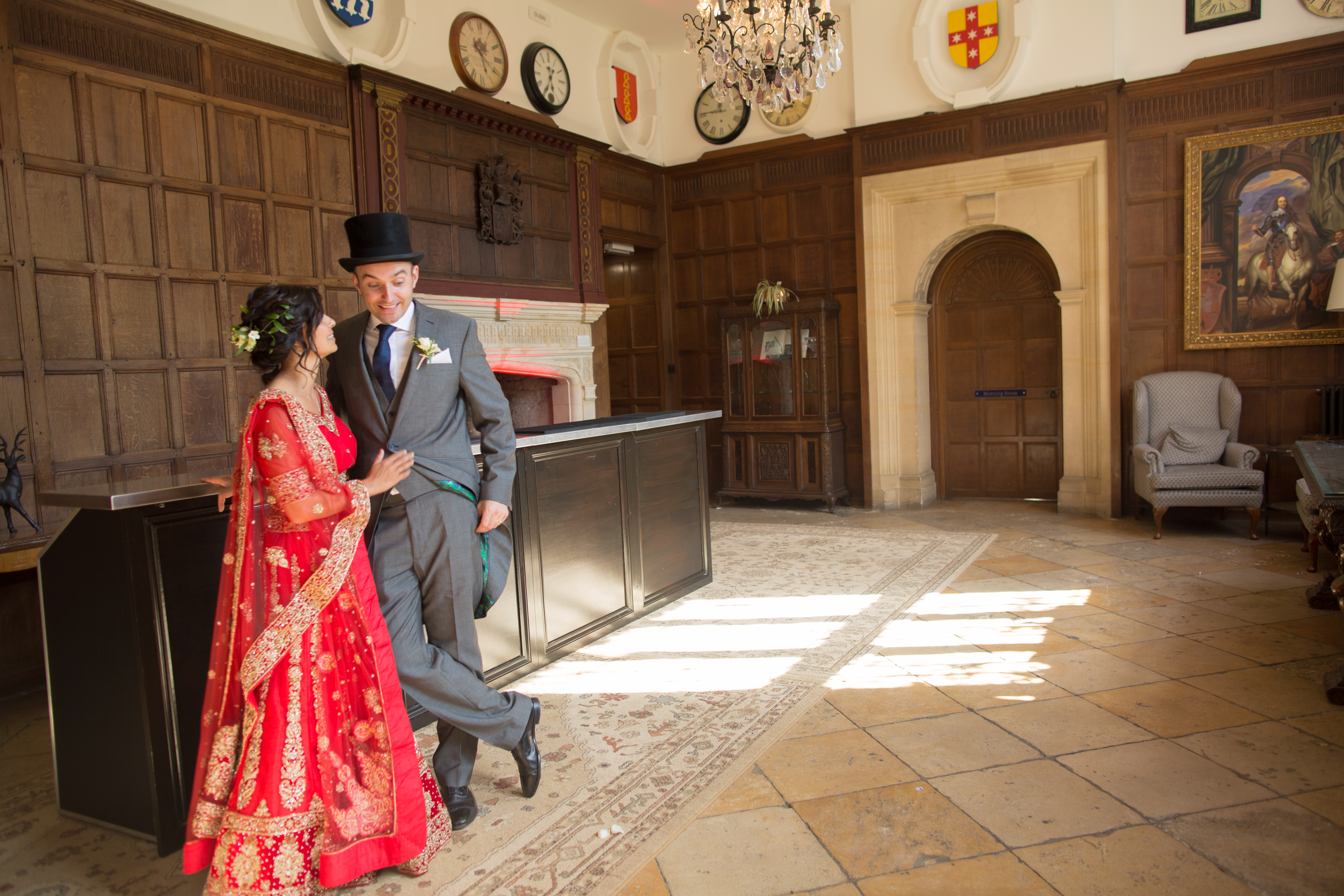 bride and groom stood inside yarnton manor