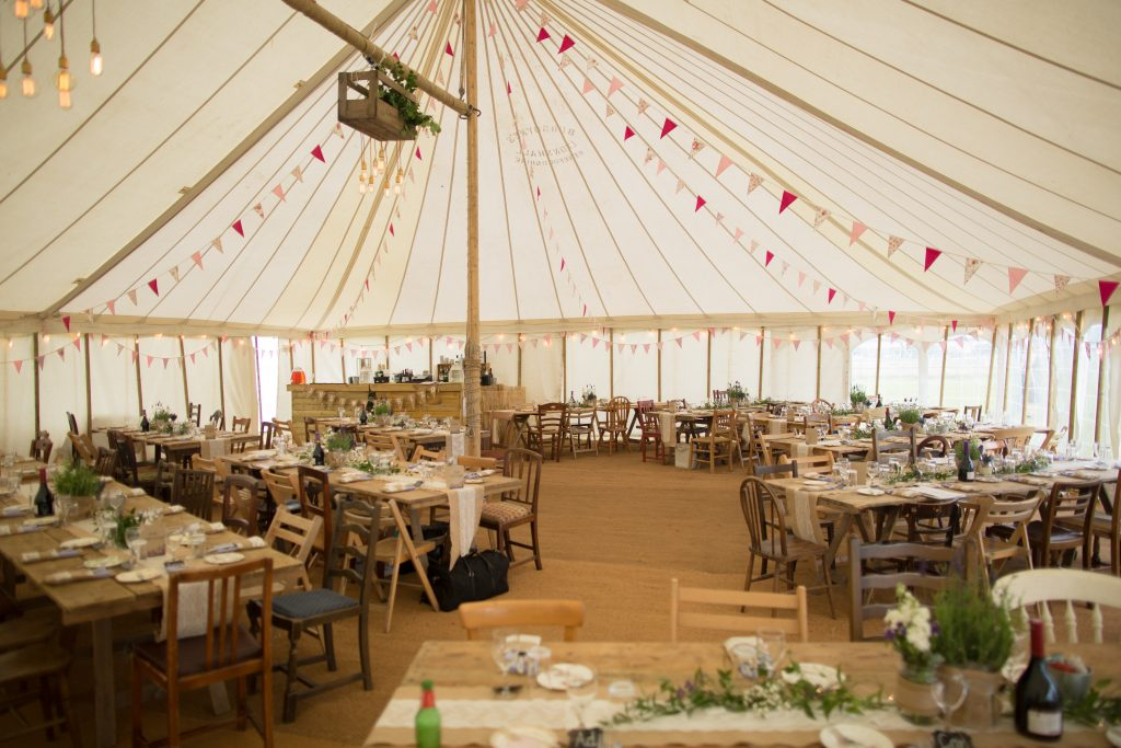 marquee interior for wedding breakfast