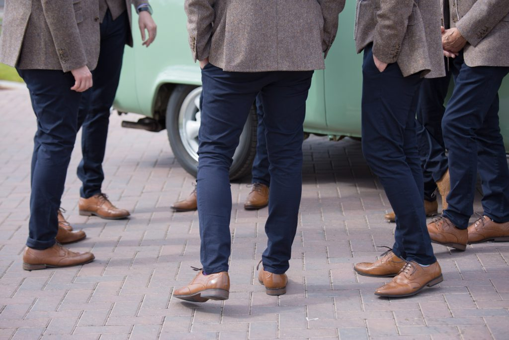 brown shoes worn by wedding party