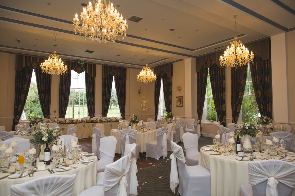 wedding breakfast room at brocton hall