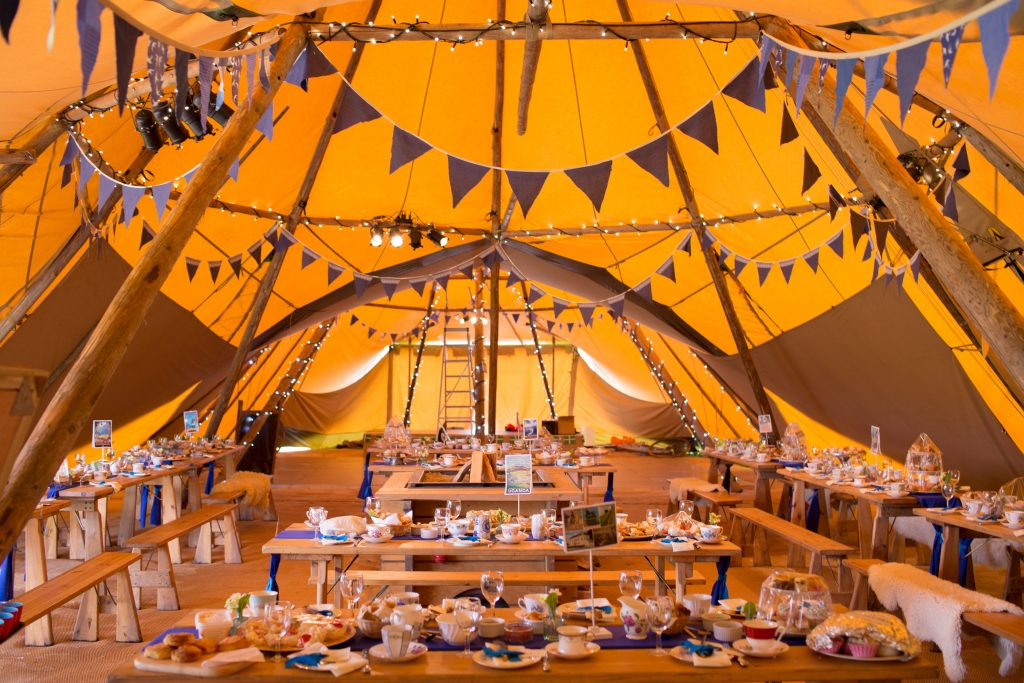 inside tipi on Devon farm