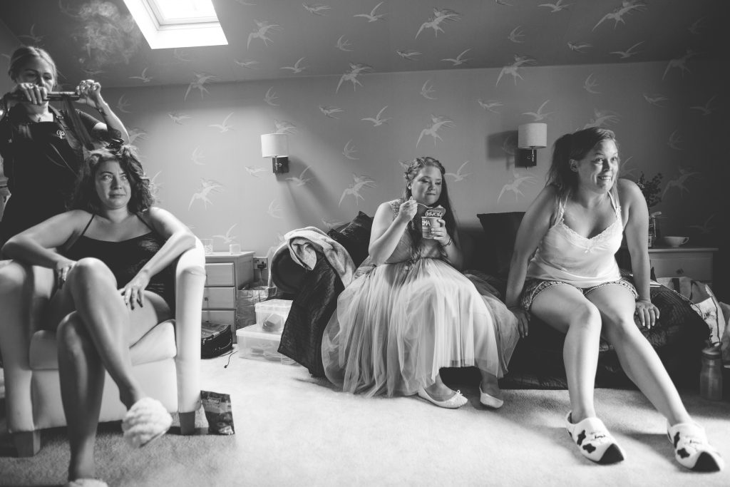 black and white photo of bridal prep