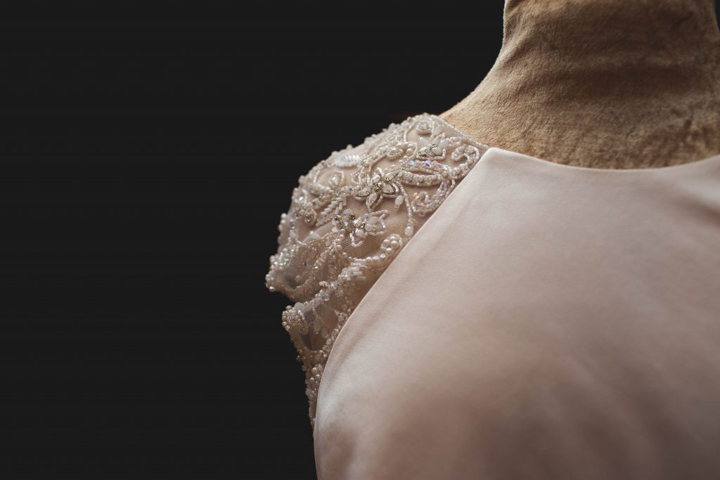 shoulder detail on wedding dress