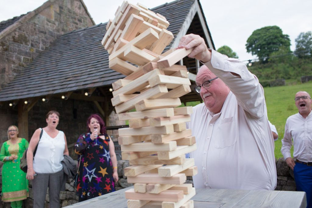game of jenga at The Ashes