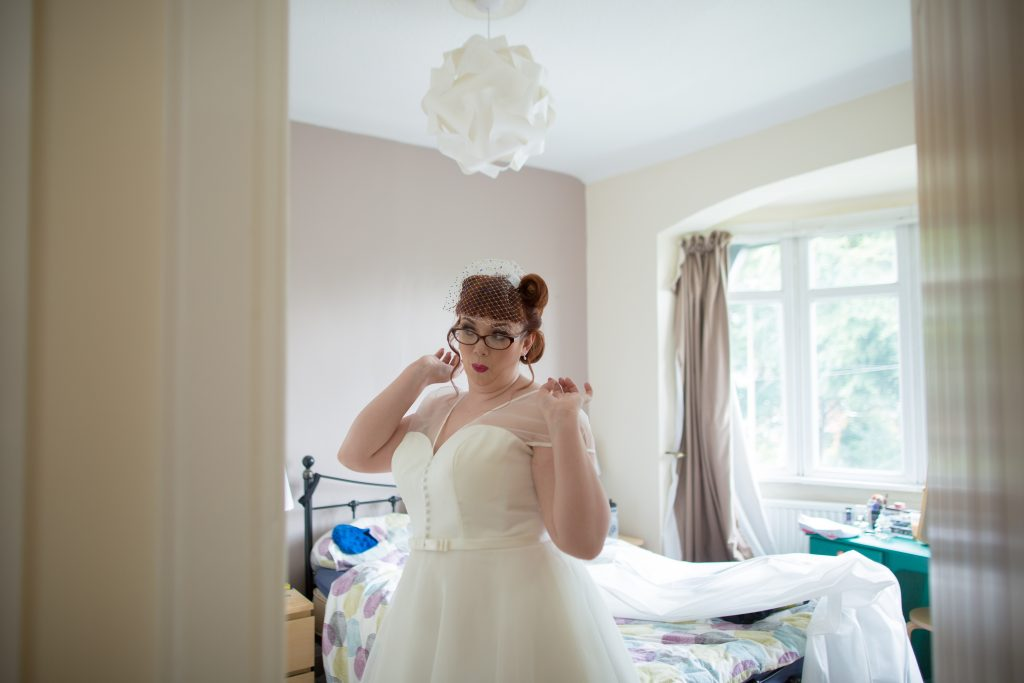 bride getting ready at home before wedding