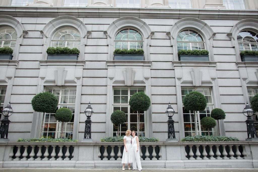 two brides together in London before their ceremony