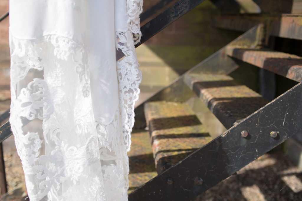 Photograph of detail on Enzoani wedding dress