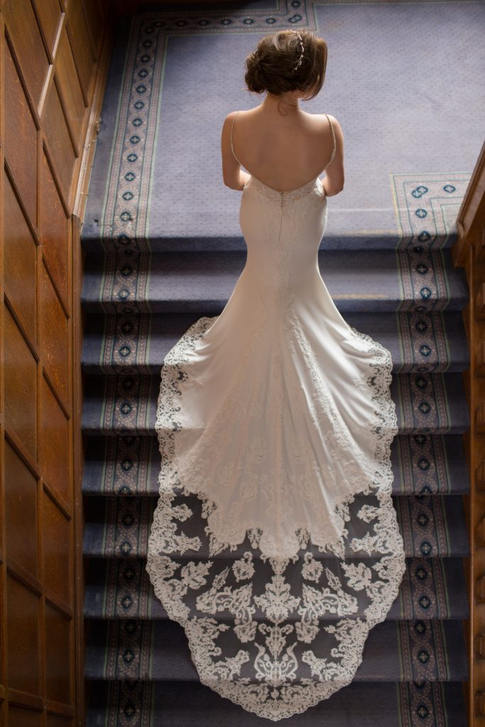 Photograph of back of wedding dress