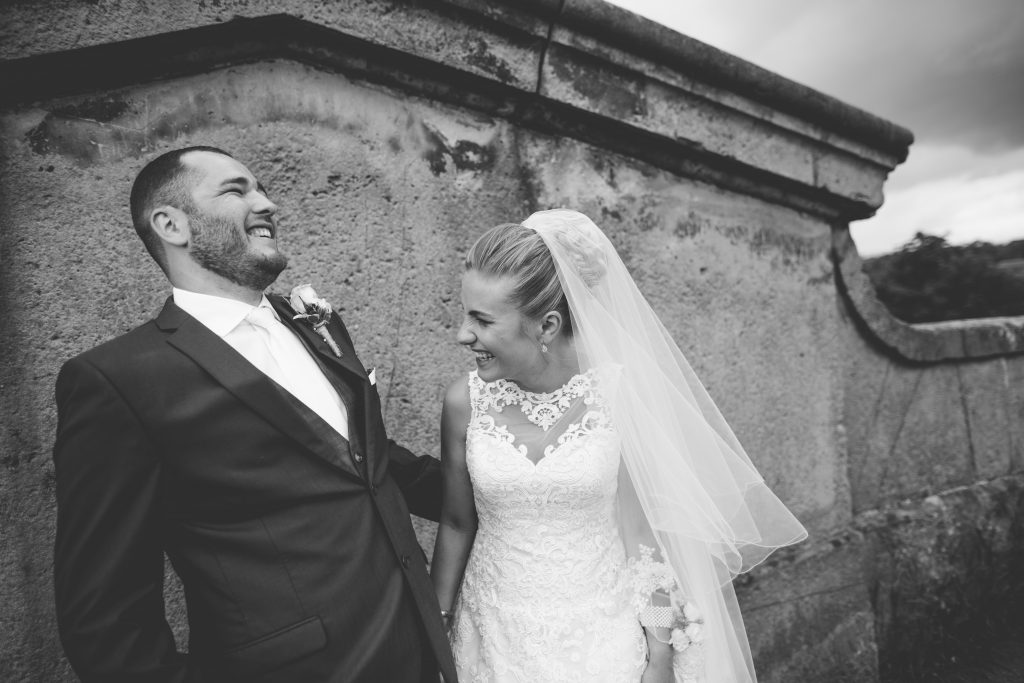 black and white photo of bride and groom at the Mytton and Mermaid