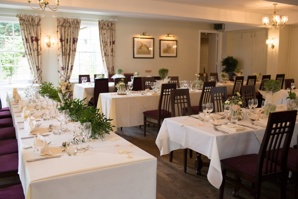 The Mytton and mermaid hotel wedding breakfast set up