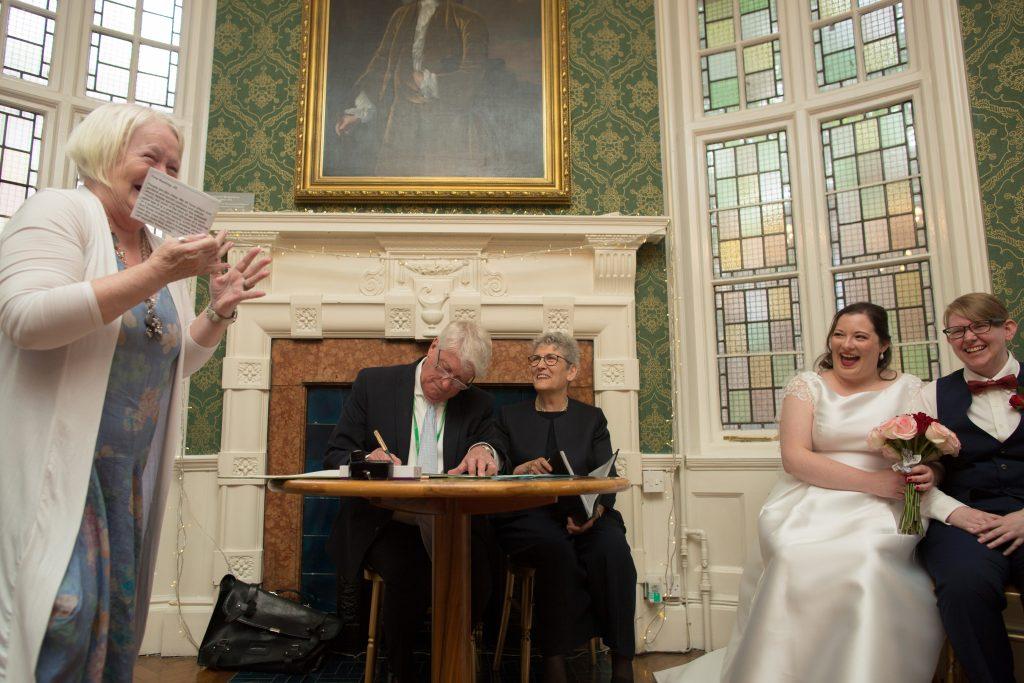 Wedding ceremony at St Brides foundation