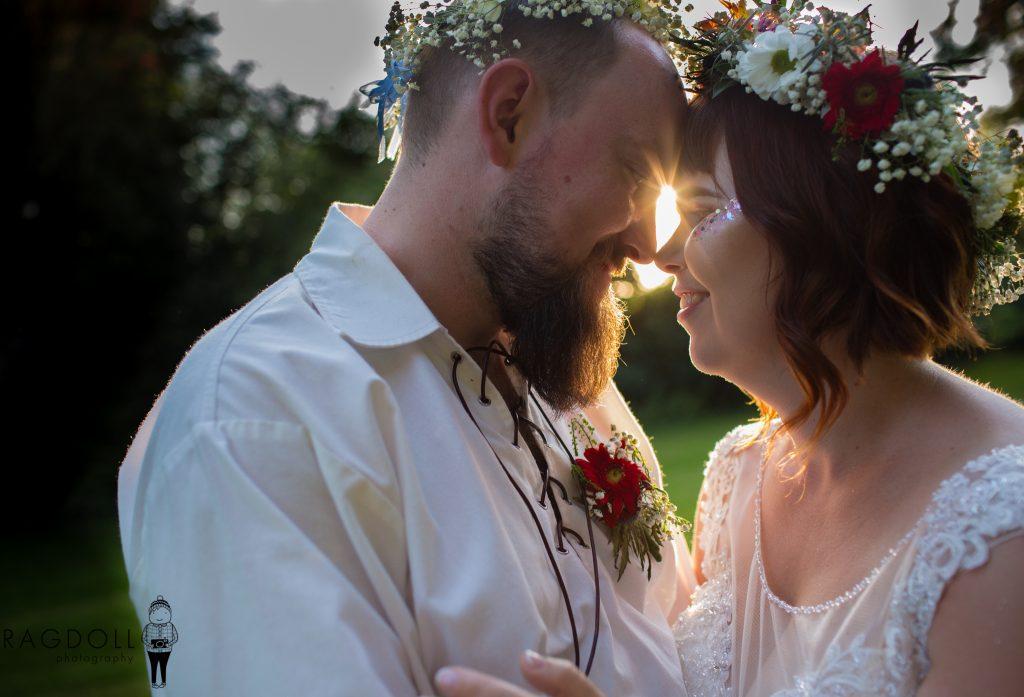 alternative bride and groom on wedding day