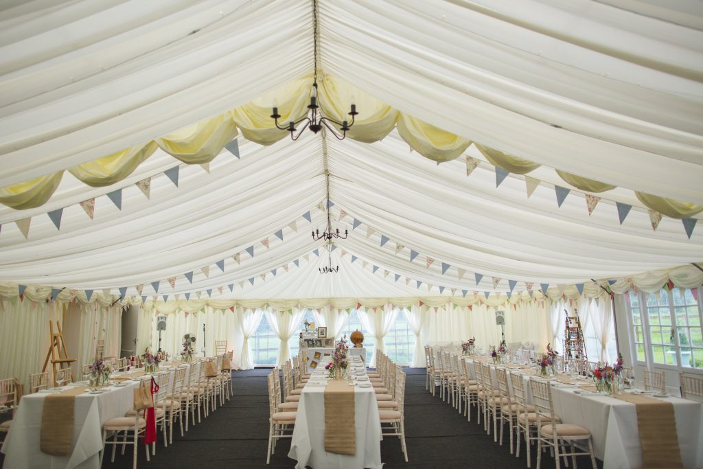 Wedding breakfast set up at Hilltop country house