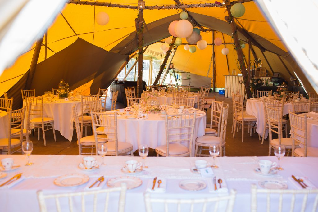 inside the tipi at wroxeter hotel