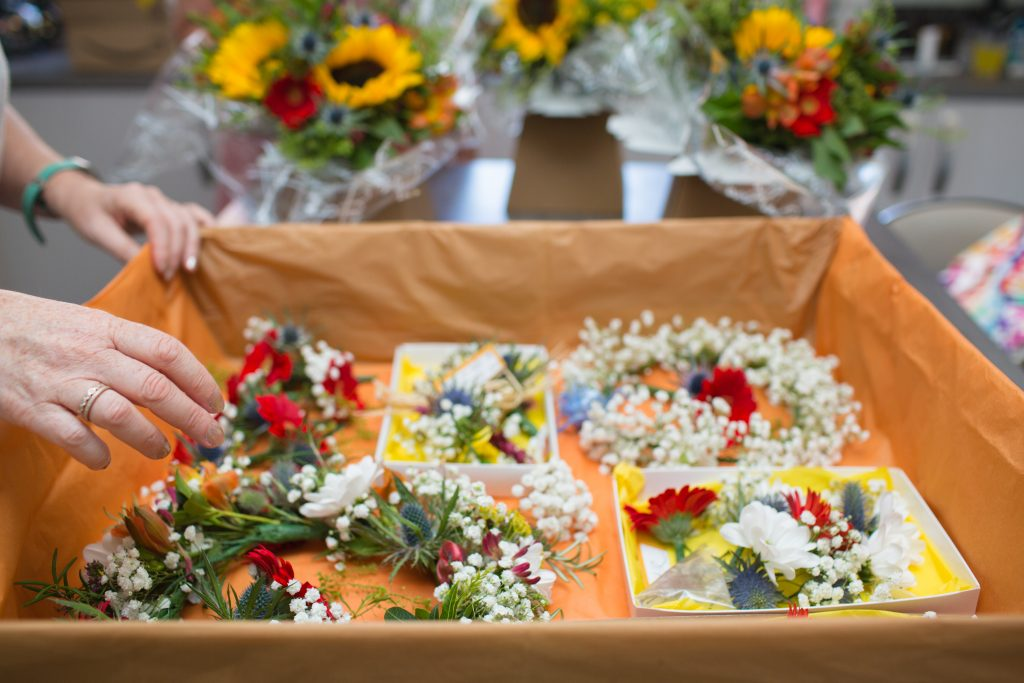 box of wedding flowers