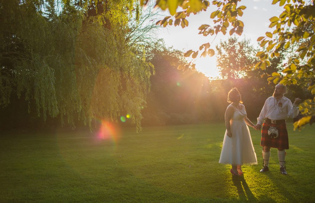 photo of bride and groom at the wroxeter hotel