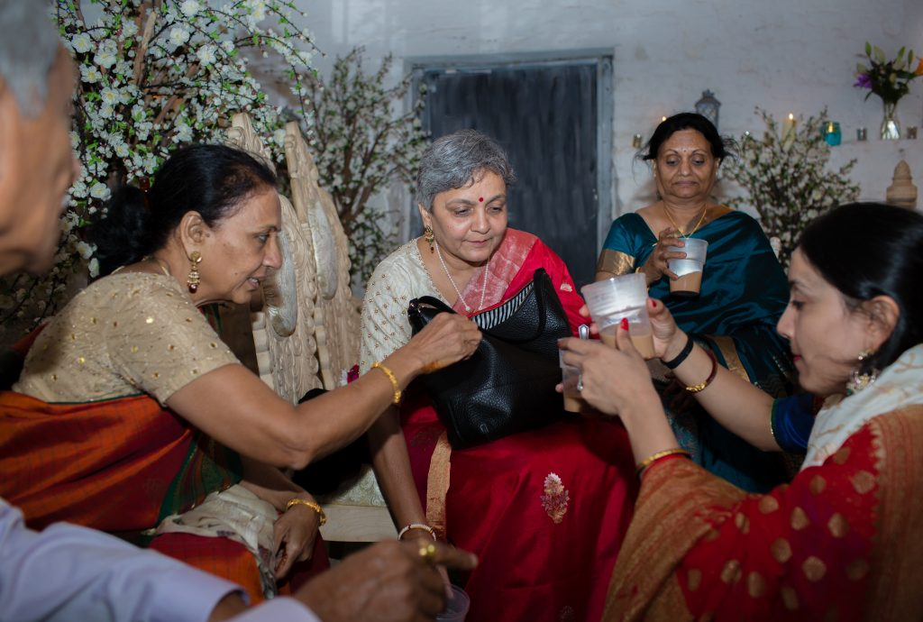 asian guests having chai at sweeney hotel wedding