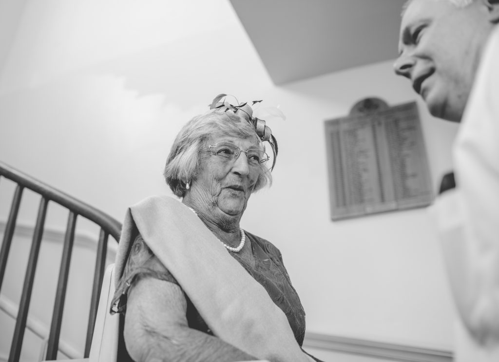 brides nan on stair lift in windsor guildhall