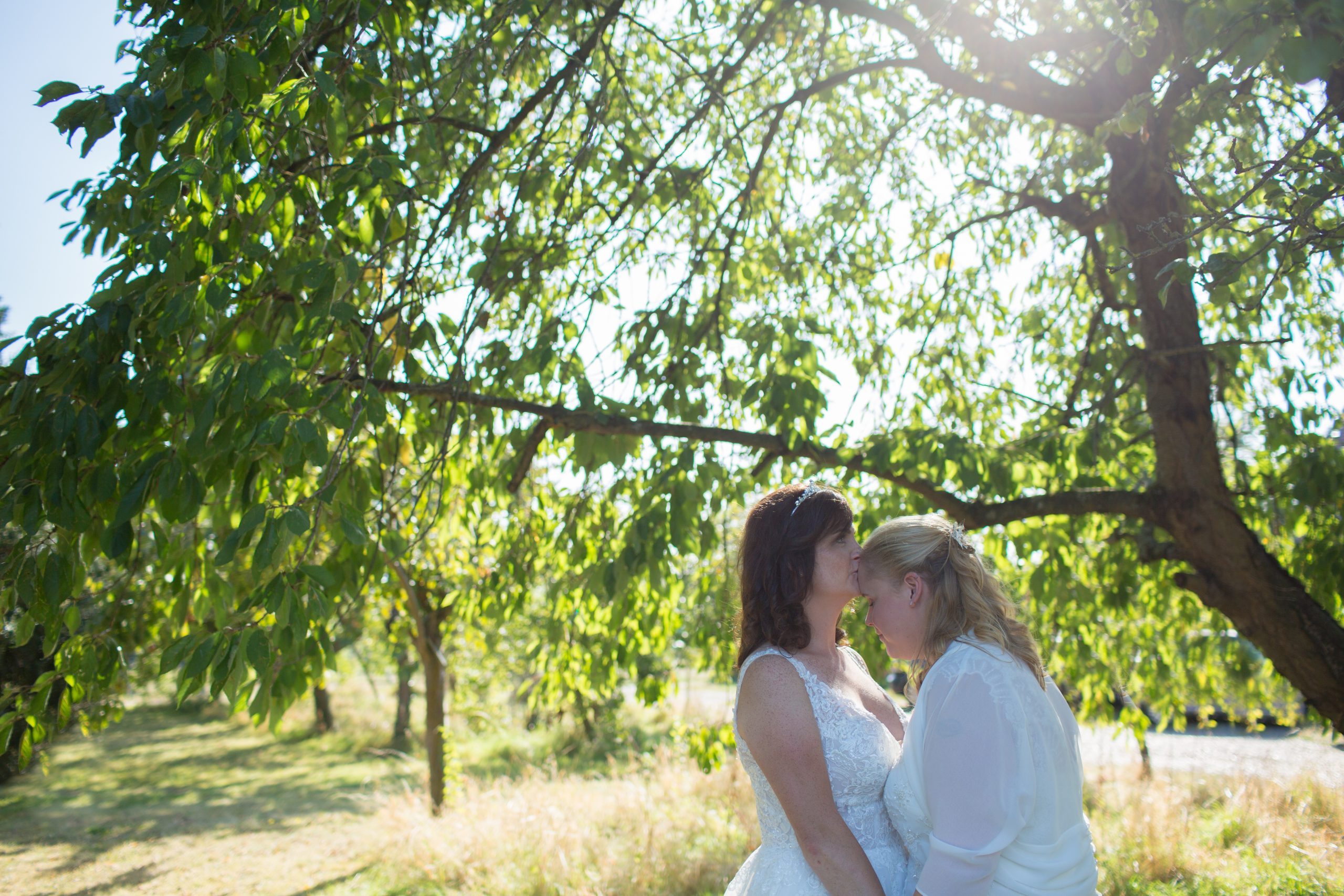 bride and bride stood under tree on wedding day