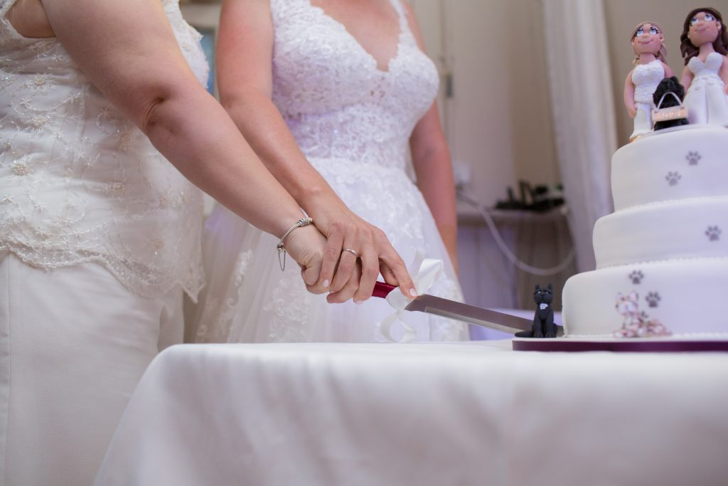 two brides cutting wedding cake