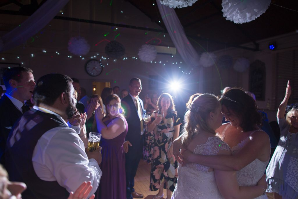 newly married couple doing first dance