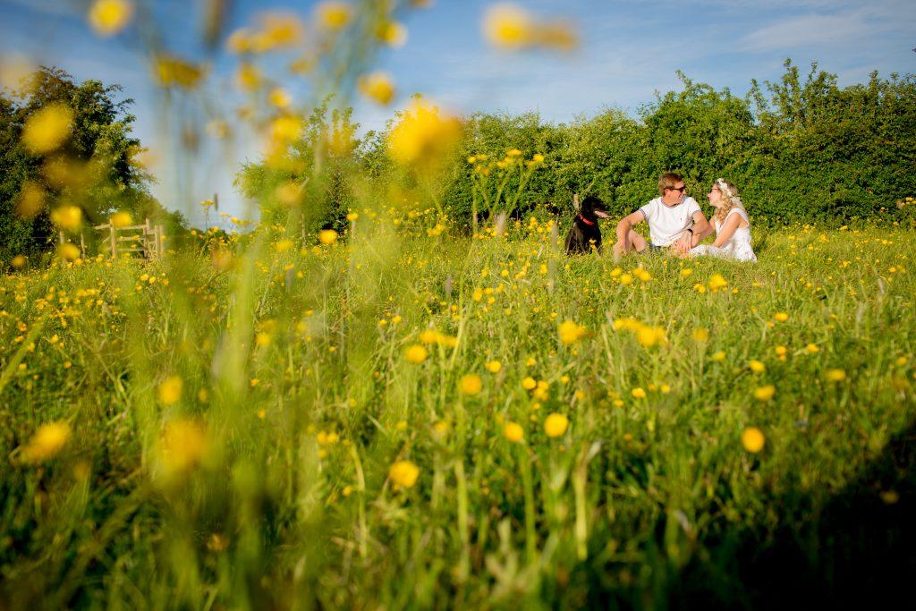 photo of engaged couple sitting amongst buttercups